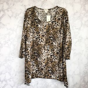 NWT Brittany Black leopard print blouse size 2x
